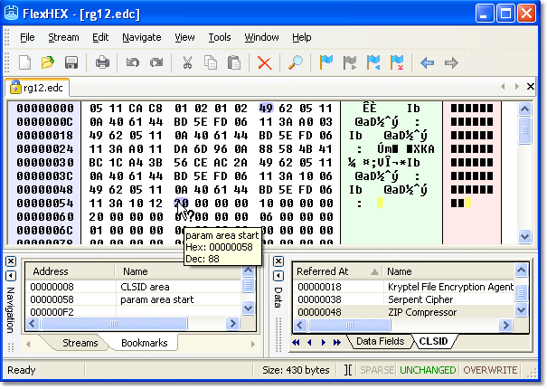hex editor bookmarks