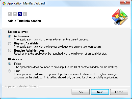 Application Manifest Wizard